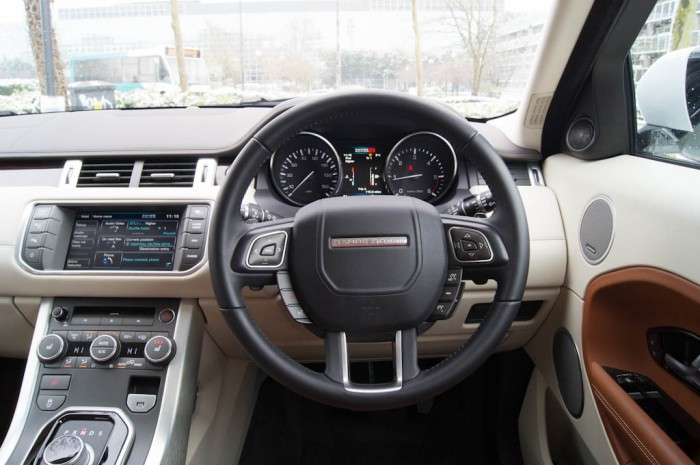 Range Rover Evoque Coupe Steering Wheel 700x465 - Range Rover Evoque Review – The perfect on roader? - Range Rover Evoque Review – The perfect on roader?