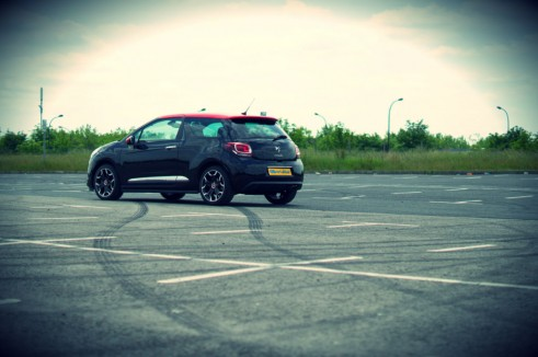 Citroen DS3 RED Review Side Angle Skid carwitter 491x326 - Citroen DS3 DSport RED Review – Head turner - Citroen DS3 DSport RED Review – Head turner