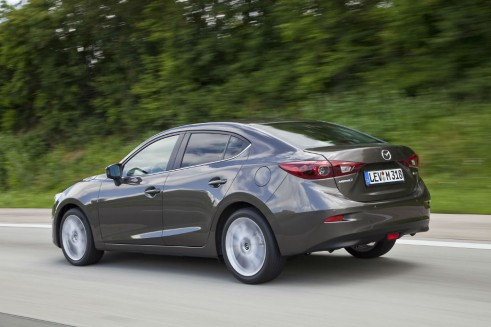 All-new Mazda 3 Saloon Side Rear - carwitter