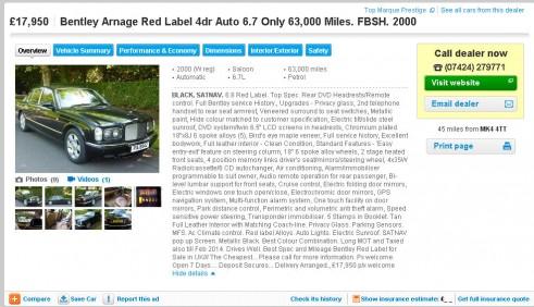 Bentley Arnage Red Label £17950 - carwitter