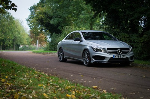 Mercedes Benz CLA45 AMG Review - Front Side Angle - carwitter