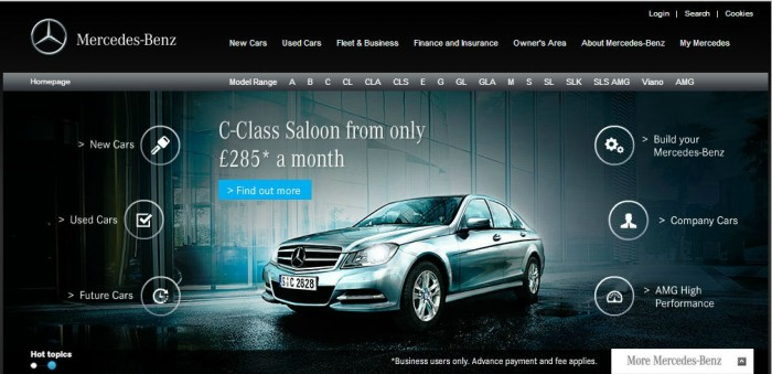 Mercedes Benz UK Website carwitter 700x339 - 5 Tips to Saving Money Online - 5 Tips to Saving Money Online