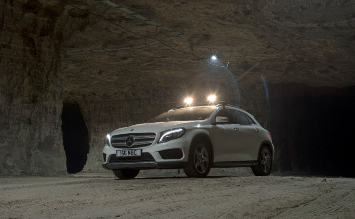 Mercedes Benz GLA Salt Mine UK Launch Front Angle carwitter 700x432 - Mercedes GLA gets tested in a mine - Mercedes GLA gets tested in a mine