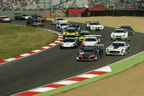 Blancpain 2014 Brands Hatch First Corner Action carwitter 491x327 - Blancpain 2014 – Brands Hatch – Grasser storm to first victory - Blancpain 2014 – Brands Hatch – Grasser storm to first victory