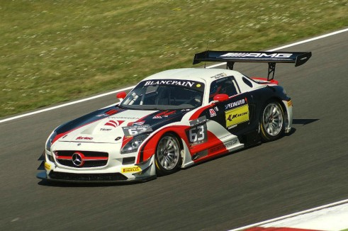 Blancpain 2014 Brands Hatch Mercedes SLS GT3 carwitter 491x326 - Blancpain 2014 – Brands Hatch – Grasser storm to first victory - Blancpain 2014 – Brands Hatch – Grasser storm to first victory