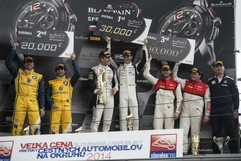 Blancpain Sprint Series 2014 Slovakia podium carwitter 491x327 - Blancpain 2014 – Slovakia – Baumann and Jager storm to triumph - Blancpain 2014 – Slovakia – Baumann and Jager storm to triumph
