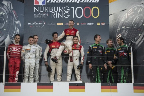 2014 Blancpain Endurance Series Nurburgring 1000 podium carwitter 491x327 - Blancpain 2014 – Nurburgring – Vanthoor seals endurance title - Blancpain 2014 – Nurburgring – Vanthoor seals endurance title