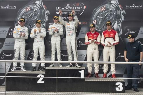 Blancpain Zolder podium carwitter 491x327 - Blancpain 2014 – Zolder – Gotz strengthens grip on Blanpain title - Blancpain 2014 – Zolder – Gotz strengthens grip on Blanpain title
