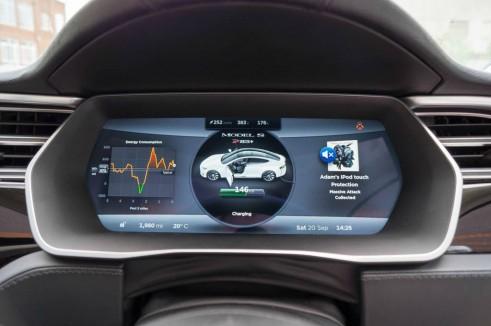 Tesla Model S P85 Plus Review UK Dials Speedo carwitter 491x326 - Tesla Model S P85 Plus Review - Speed redefined - Tesla Model S P85 Plus Review - Speed redefined
