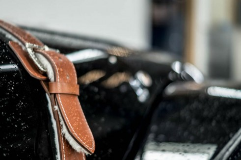 Morgan Plus 8 Speedster Review - Bonnet Strap Close Up - carwitter