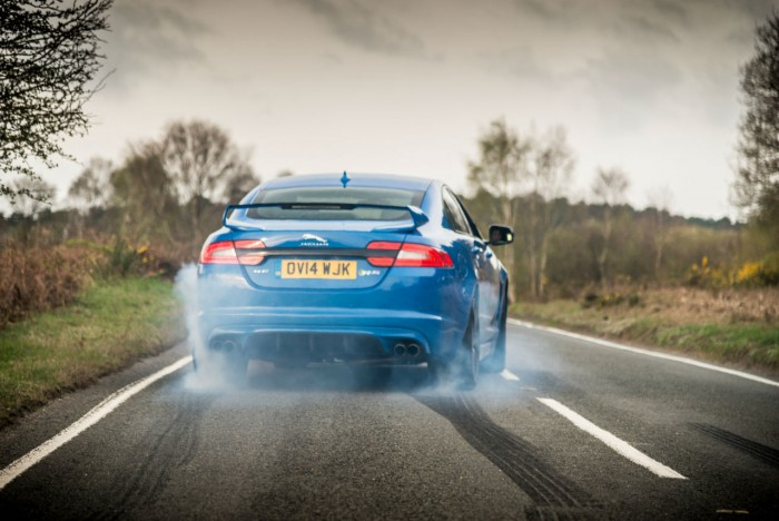 2014 Jaguar XFR-S Review - Burnout Rear - carwitter