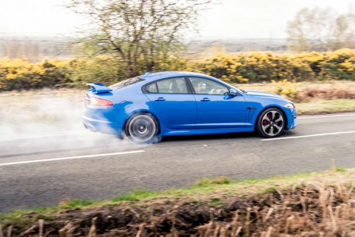 2014 Jaguar XFR-S Review - Burnout Side - carwitter