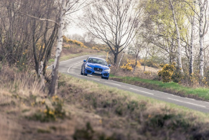 2014 Jaguar XFR-S Review - Tracking Front - carwitter