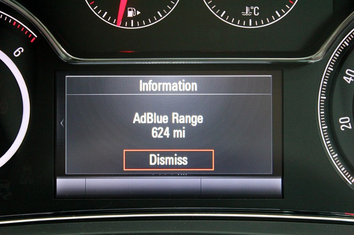 2015 Vauxhall Insignia review AdBlue carwitter 700x466 - 2015 Vauxhall Insignia Sports Tourer review - 2015 Vauxhall Insignia Sports Tourer review