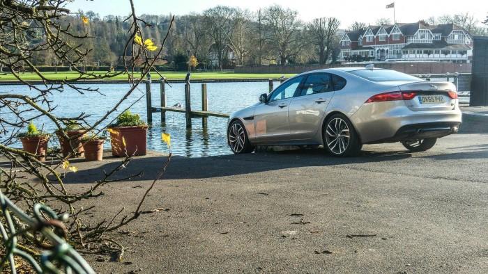 2016 Jaguar XF Review - Rear Angle Scene - carwitter