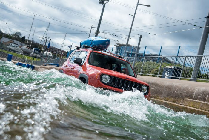 Jeep Renegade drives Olympic-Standard White Water Rafting Course - Front Action - carwitter