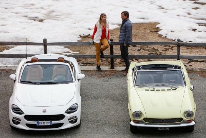 2016 Fiat 124 Spider White with Classic 124 Spider - Front - carwitter