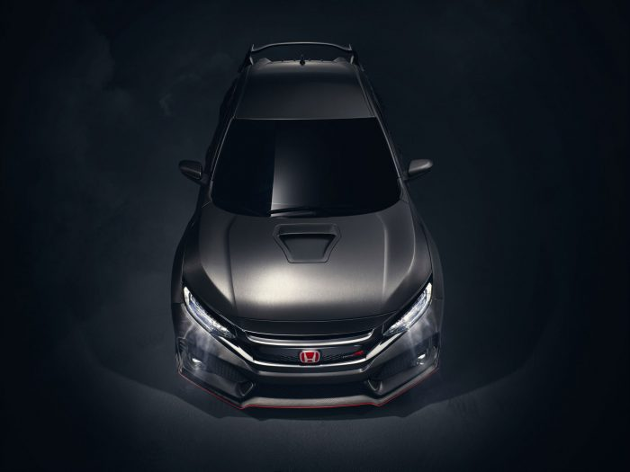 2017 Honda Civic Type R Front Above carwitter 700x525 - 2017 Honda Civic Type R Breaks Cover - 2017 Honda Civic Type R Breaks Cover