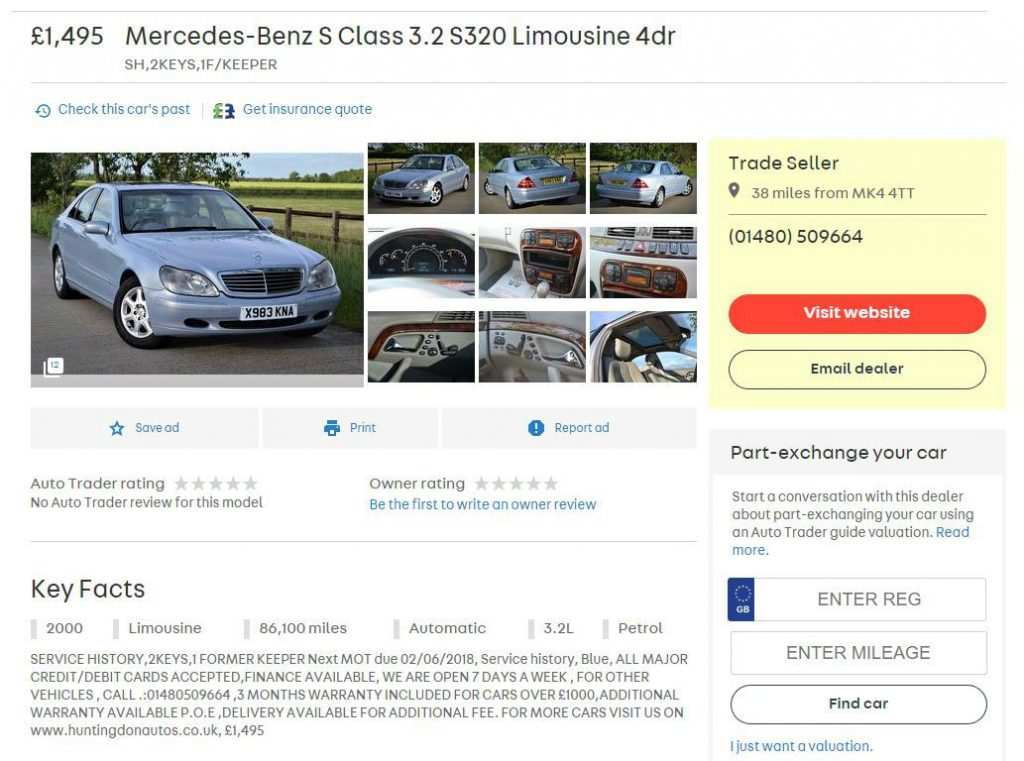 Mercedes Benz S320 2000 Carwitter 1024x761 - The best used Mercs to buy 2017 - The best used Mercs to buy 2017
