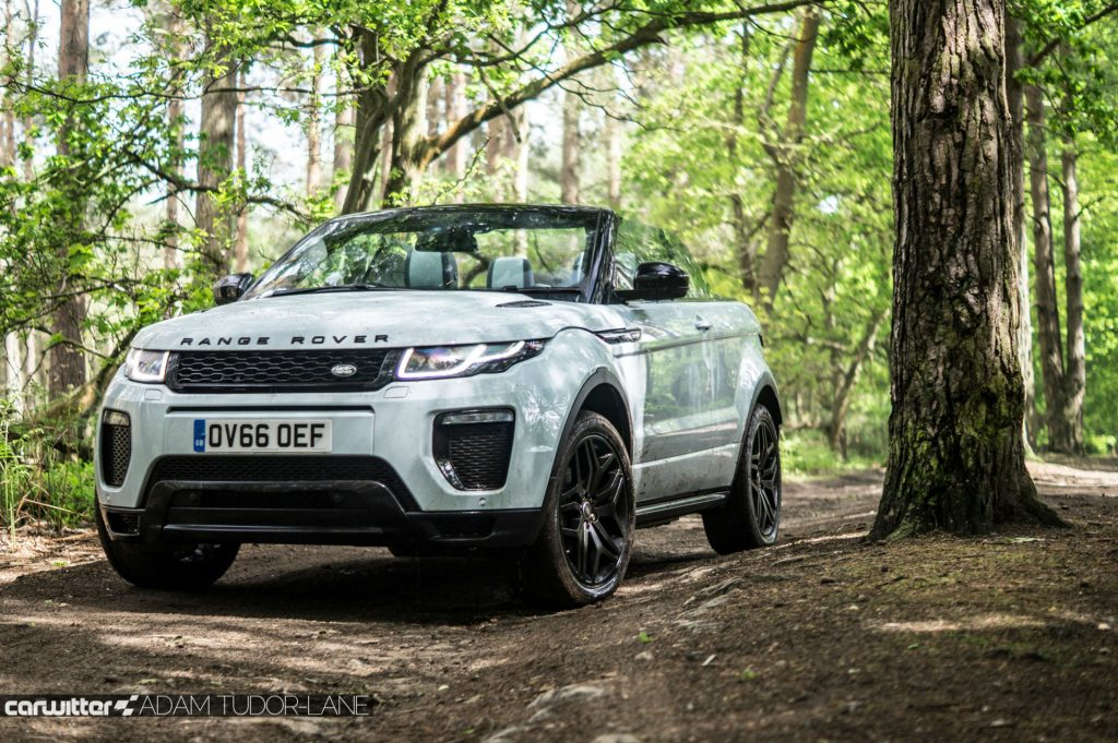 2017 Range Rover Evoque Convertible Review Off Road Trees carwitter 1024x681 - Range Rover Evoque Convertible Review - Range Rover Evoque Convertible Review