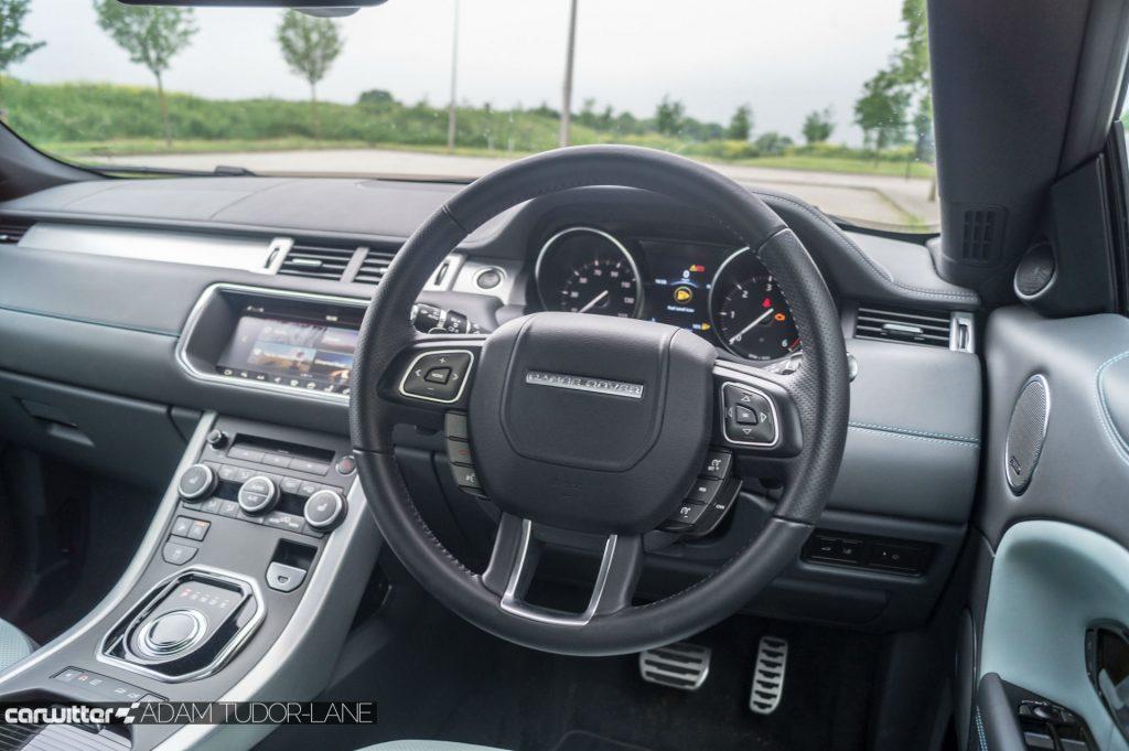 2017 Range Rover Evoque Convertible Review Steering Wheel carwitter 1024x681 - Range Rover Evoque Convertible Review - Range Rover Evoque Convertible Review