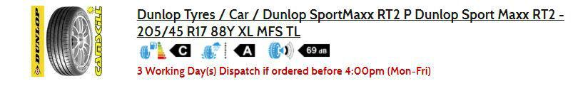 Dunlop Sportmaxx RT2 Tyre Rating Label carwitter - Toyo T1R Proxies Vs Dunlop Sport Maxx RT2 - Dunlop Sportmaxx RT2 Tyre Rating Label - carwitter