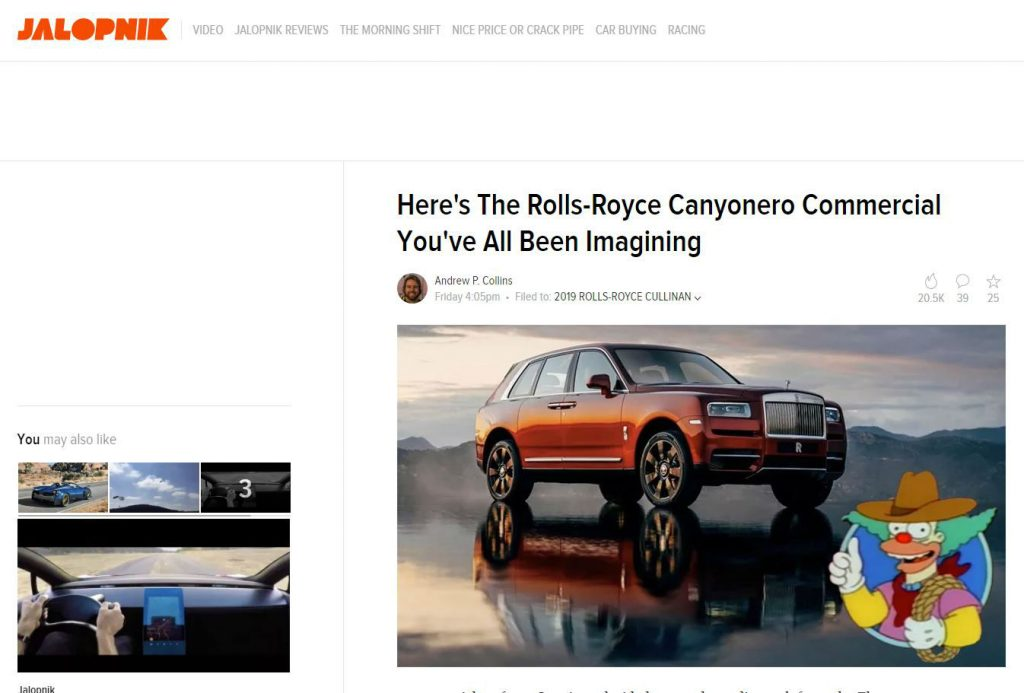 Rolls Royce Canyonero On Jalopnik carwitter 1024x693 - Press - Press