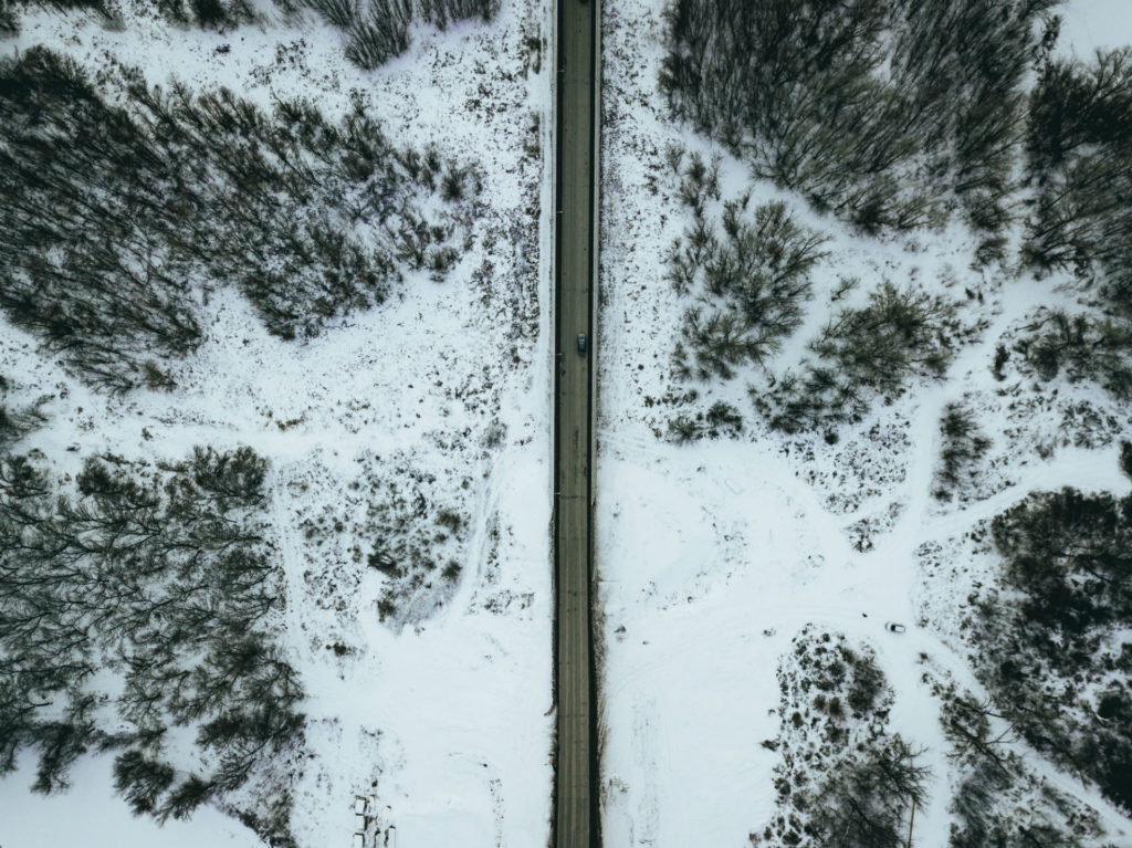 Snow Winter Road Drone Birds Eye View carwitter 1024x767 - Winter driving - the ultimate preparation guide - Winter driving - the ultimate preparation guide