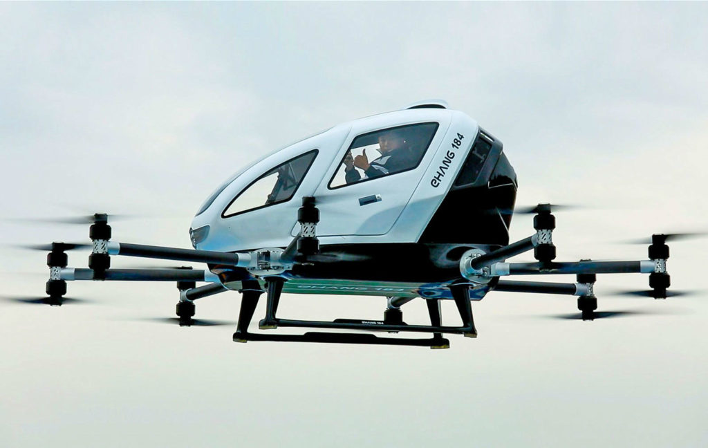 Ehang 184 Drone carwitter 1024x648 - Flying Cars: The Past, The Present, The Unlikely Future - Flying Cars: The Past, The Present, The Unlikely Future