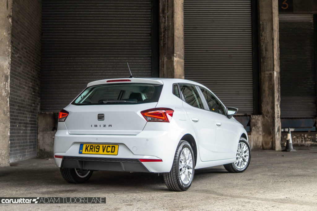 SEAT Ibiza 1.0 SE Tech Review Rear Angle carwitter 1024x681 - SEAT Ibiza 1.0 litre SE Technology Review - SEAT Ibiza 1.0 litre SE Technology Review